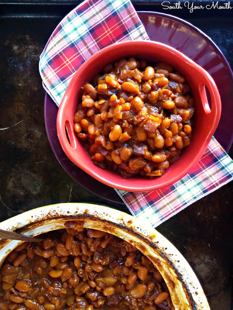 Homemade Boston Baked Beans from scratch! Dried Great Northern Beans slow-cook with bacon and molasses to make thick, rich, authentic Boston Baked Beans.