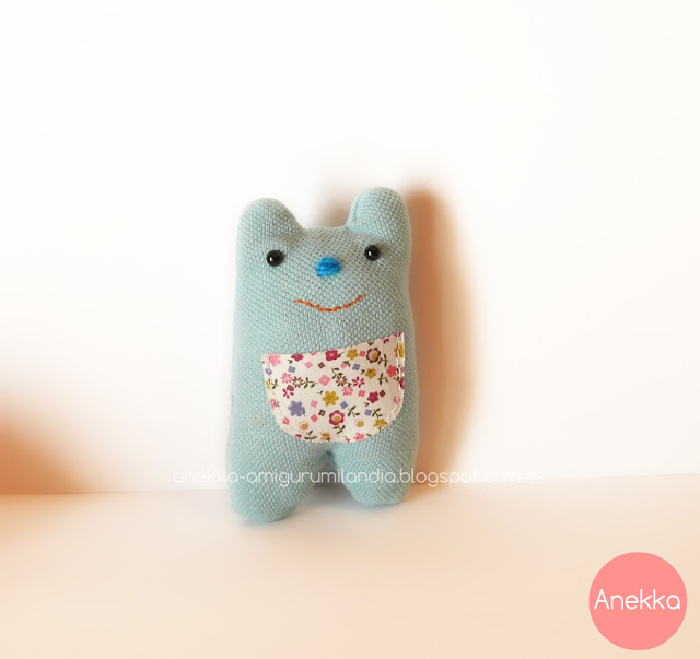 osito de trapo azul  anekka handmade