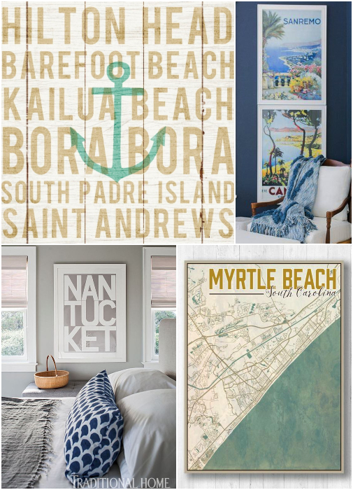 Coastal Beach Destination Textual Art Prints Ideas