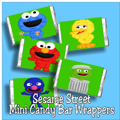 Print out these fun Sesame Street candy bar wrappers and enjoy a yummy party favor at your Sesame Street birthday party.  Cookie Monster and the gang will sweeten up your mini candy bars and bring a smile to all your guests.