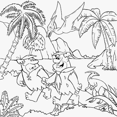 Fun sketch prehistoric dinosaur pictures Barney Fred Flintstones coloring pages for teens printable
