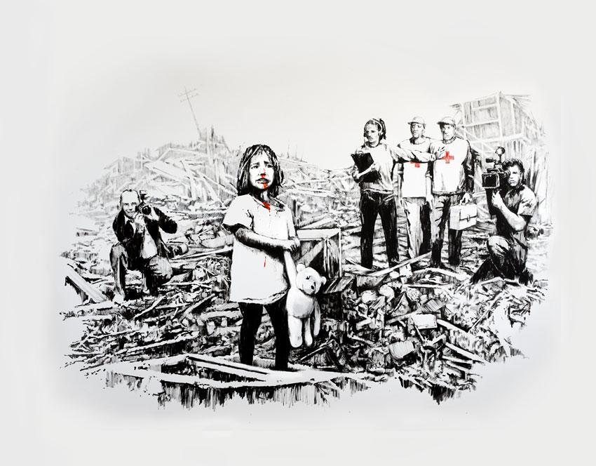 Dibujo de Banksy sobre los medios y la guerra