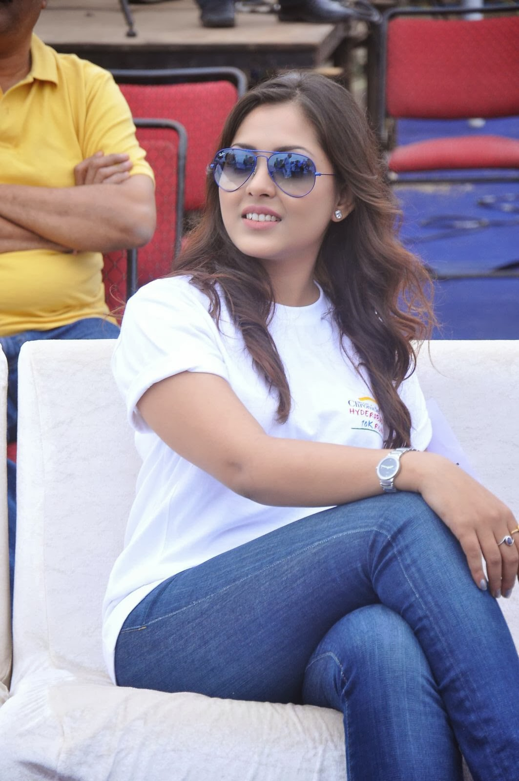 Madhu shalini latest photo gallery in jeans at hyderabad 10k run