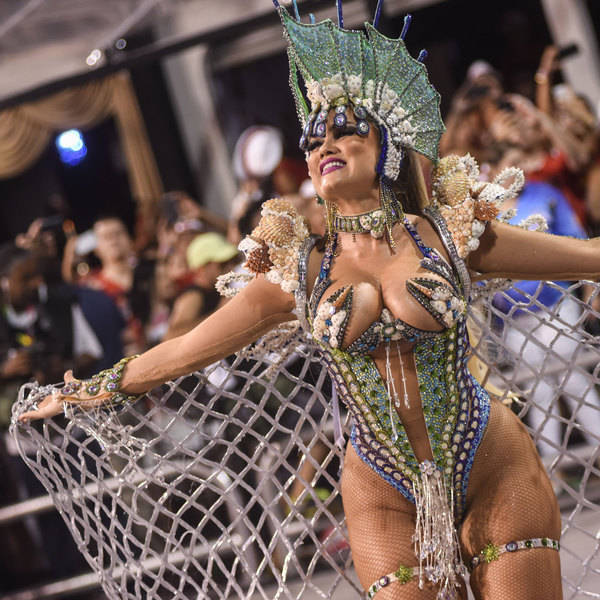 A dancer from the Rosas de Ouro samba school performs at the Sambadrome in Rio, 2016