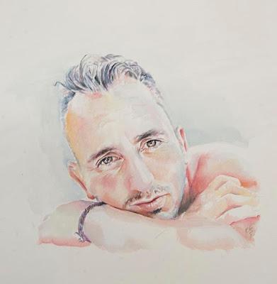 Retrato en acuarela de hombre cruzado de brazos