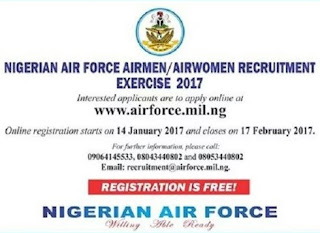 Nigerian Air-force Begins 2017 Massive Recruitment; Here Is Full Instruction On How To Apply