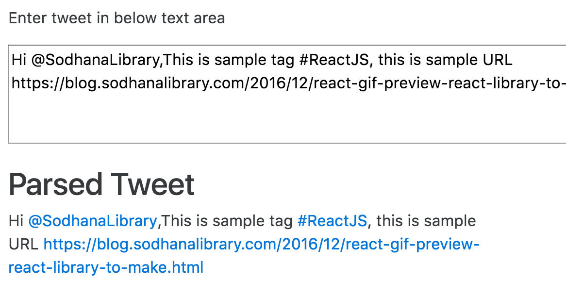 react-tweet-parser: Parse Tweets Using ReactJS | SodhanaLibrary