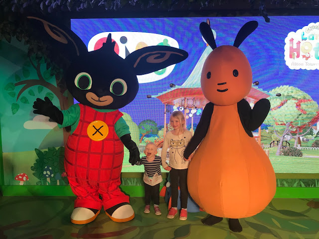 Posing with a supersize Bing and Flop at the Cbeebies Land Hotel Alton Towers