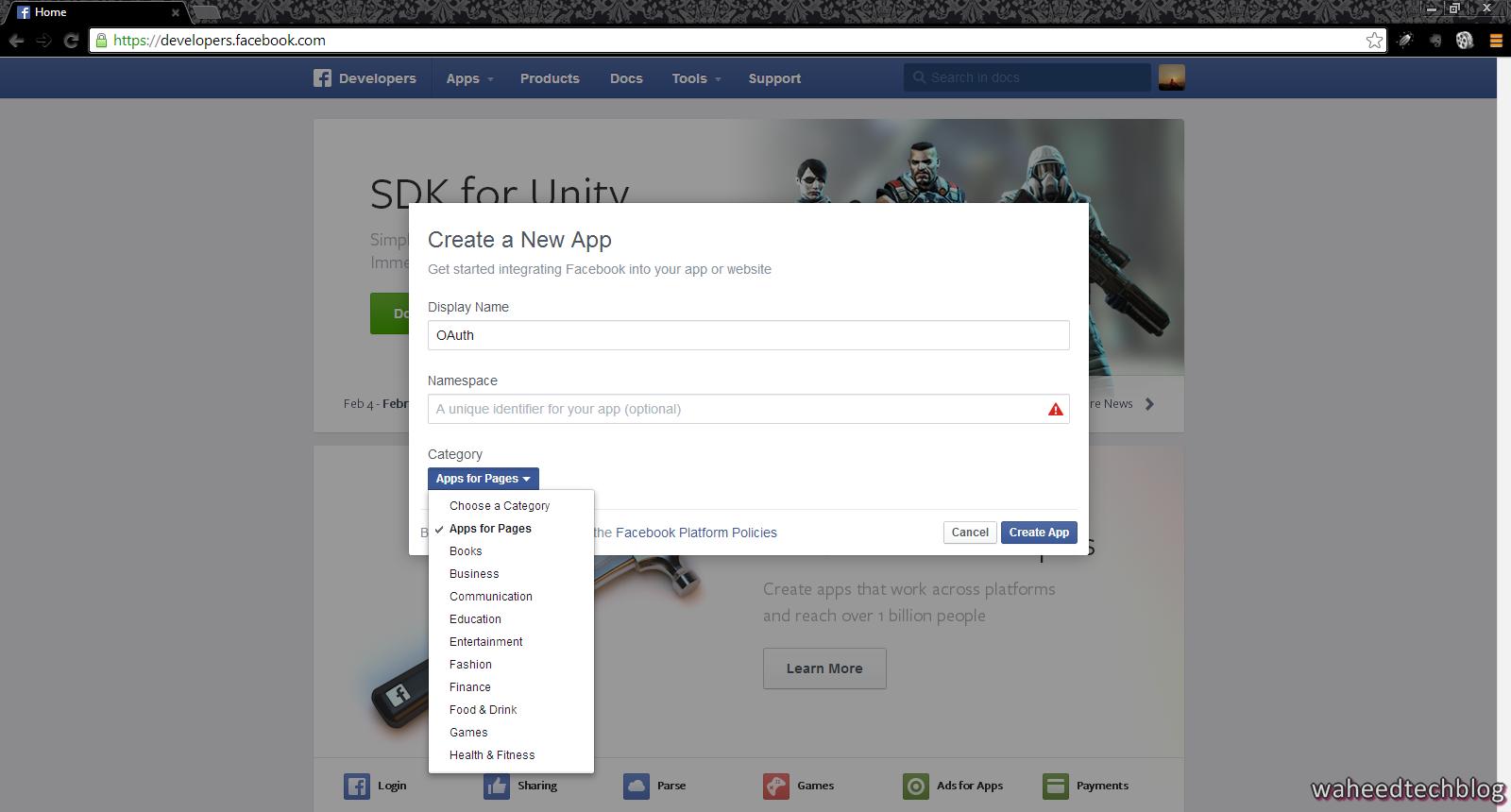 tech blog how to register app on facebook