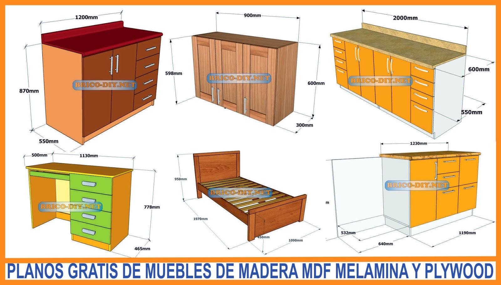 Bricolaje diy planos gratis como hacer muebles de melamina for Planos de muebles de madera pdf