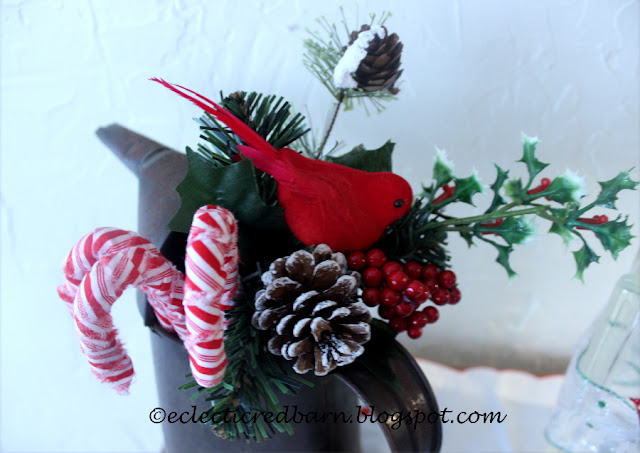 Eclectic Red Barn: Fabric Covered Candy Canes Decor in Old Oil Can