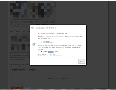 ssl certificate installed successfuly