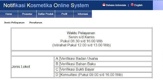 Jadwal pelayanan notifikasi kosmetika online system