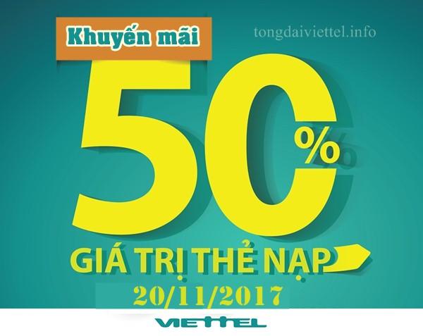 Ưu đãi 50% thẻ nạp ngày 20/11/2017 Viettel nhân ngày Nhà giáo Việt Nam