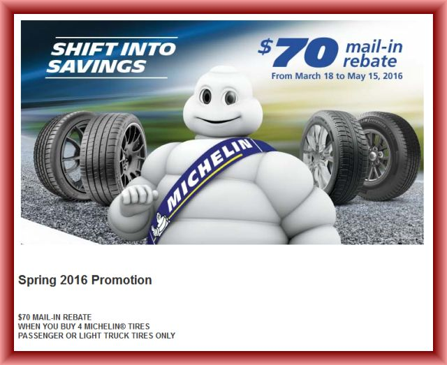 Michelin Tire Rebate and Coupons November 2017