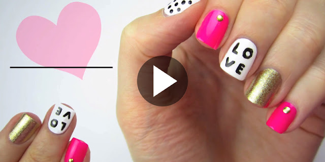Learn - How To Make Love Nail Art - See Tutorial