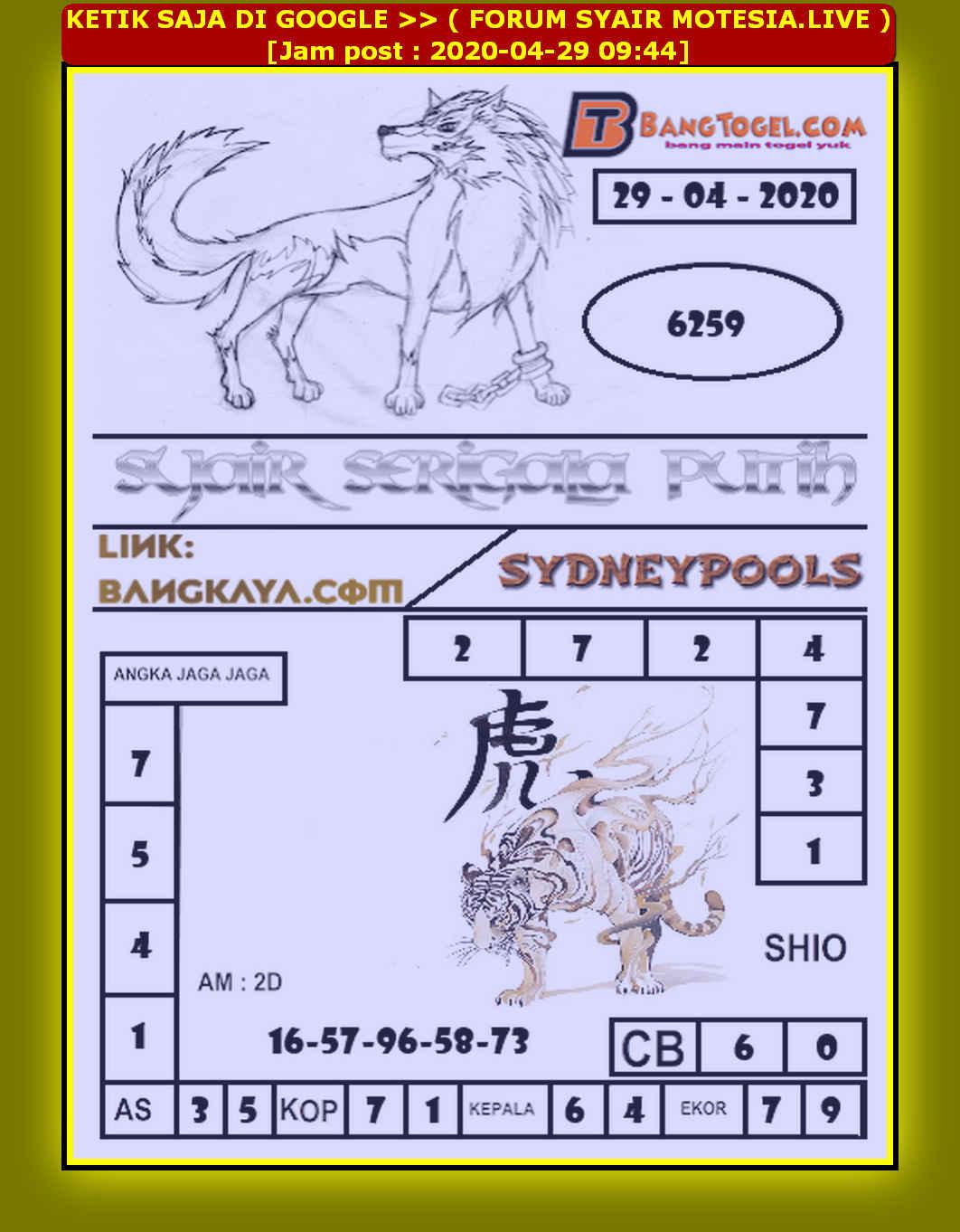 Kode syair Sydney Rabu 29 April 2020 90