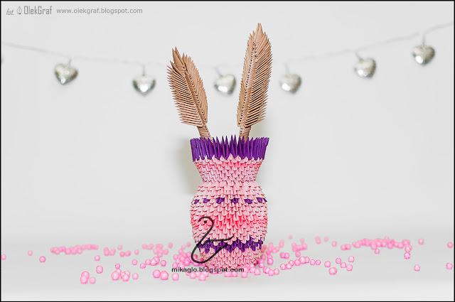 533. Różowy wazonik i kłosy z origami / 3d origami pink vase
