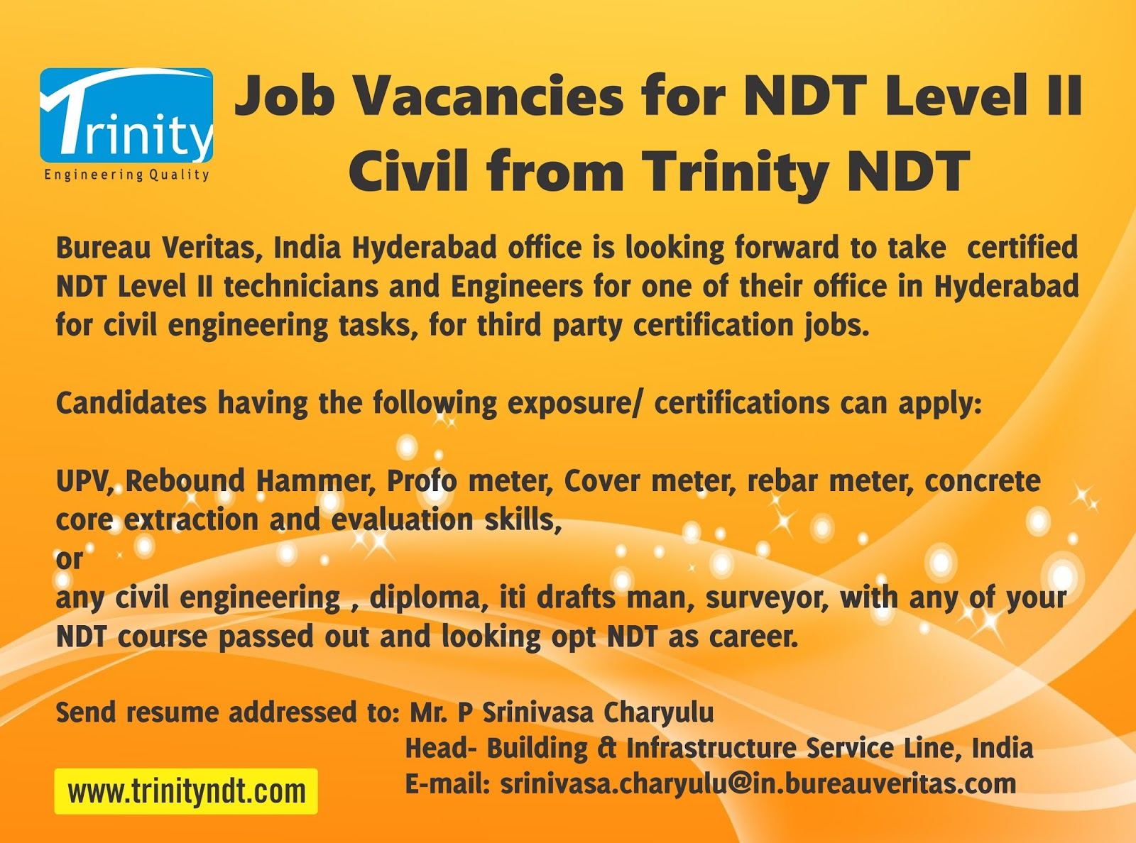 Nabl ndt labs ndt welding inspection training chennai mumbai job vacancies in bureau veritas in hyderabad for ndt level ii civil engineers certified by trinity institute of ndt technology 1betcityfo Choice Image