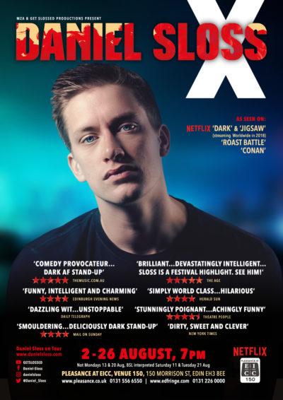 Daniel Sloss X 2018 Edinburgh Fringe poster
