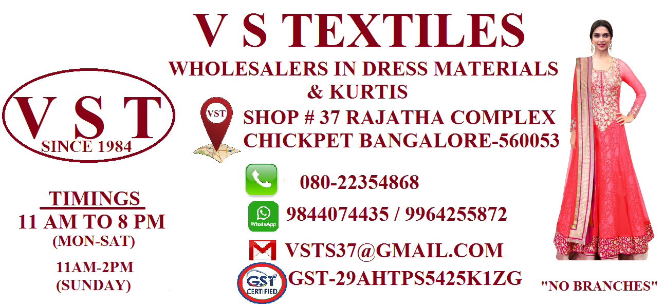 V S TEXTILES WHOLESALE DRESS MATERIALS READYMADES AND KURTIS
