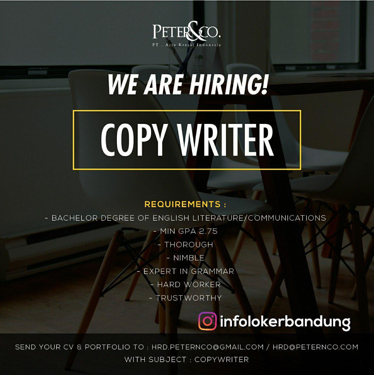 Lowongan Kerja PT. Arte Kreasi Indonesia ( Peter&Co) Bandung Oktober 2018