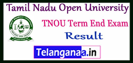 TNOU Tamil Nadu Open University Term End Result 2017