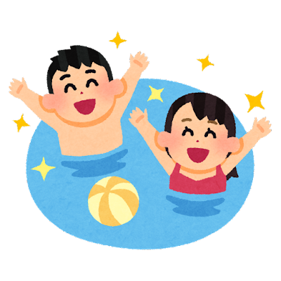 プールで遊ぶ人達のイラスト