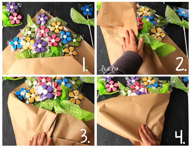Wrapped sugar cookie bouquet tutorial