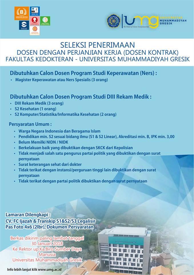 LOWONGAN DOSEN PROGRAM STUDI KEPERAWATAN  Universitas Muhammadiyah Gresik (UMG) TERBARU