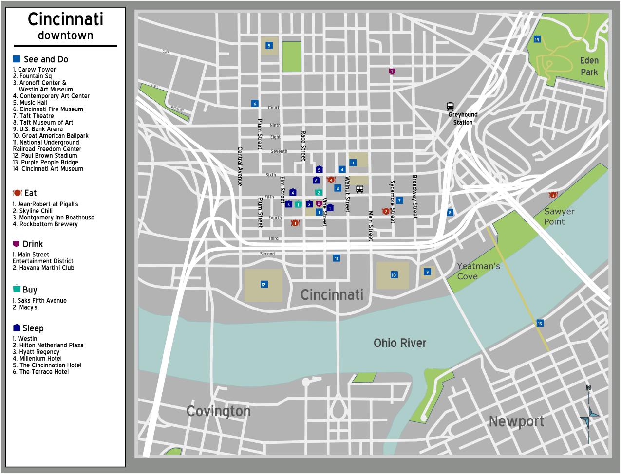 Cincinnati Map Free Printable Maps