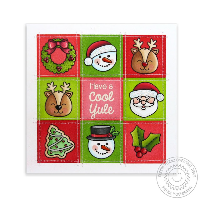 Sunny Studio Stamps: Christmas Icons Grid Style Card by Mendi Yoshikawa