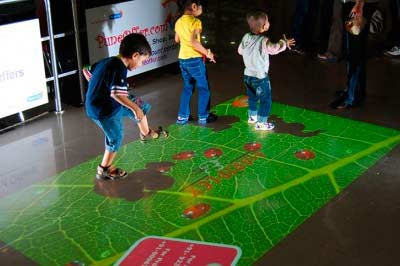 Interactive floor projector, live systems, interactive games
