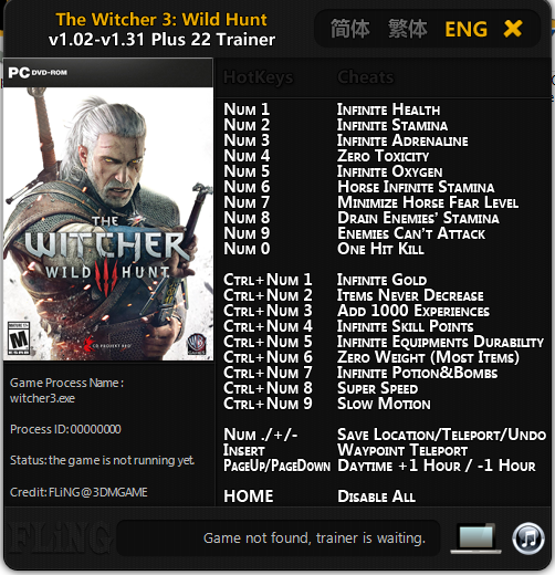 Trainer Cheat The Witcher 3: Wild Hunt PC
