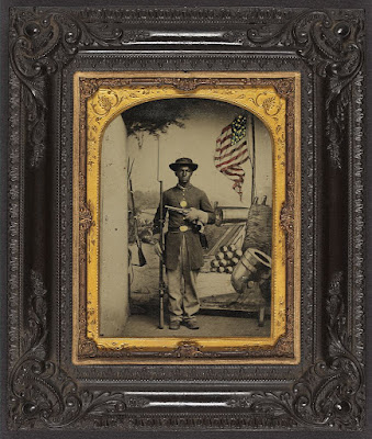 Image above from Library of Congress: Unidentified African American soldier in Union uniform at Benton Barracks, Saint Louis, Missour.