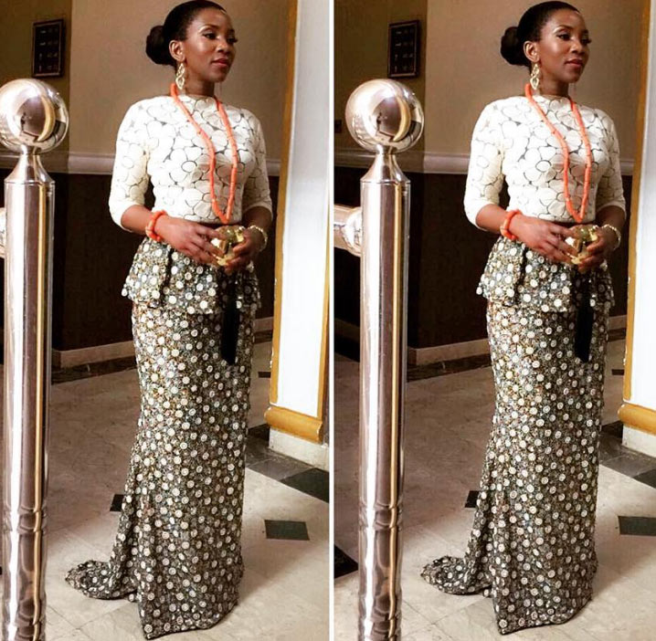 Another look at Genevieve Nnaji's outfit to Oba of Benin coronation