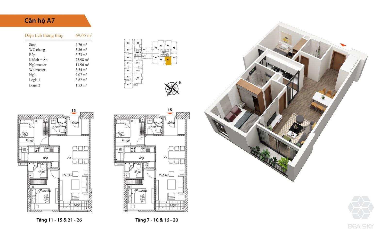 Thiết kế căn A7 chung cư Bea Sky Nguyễn xiển