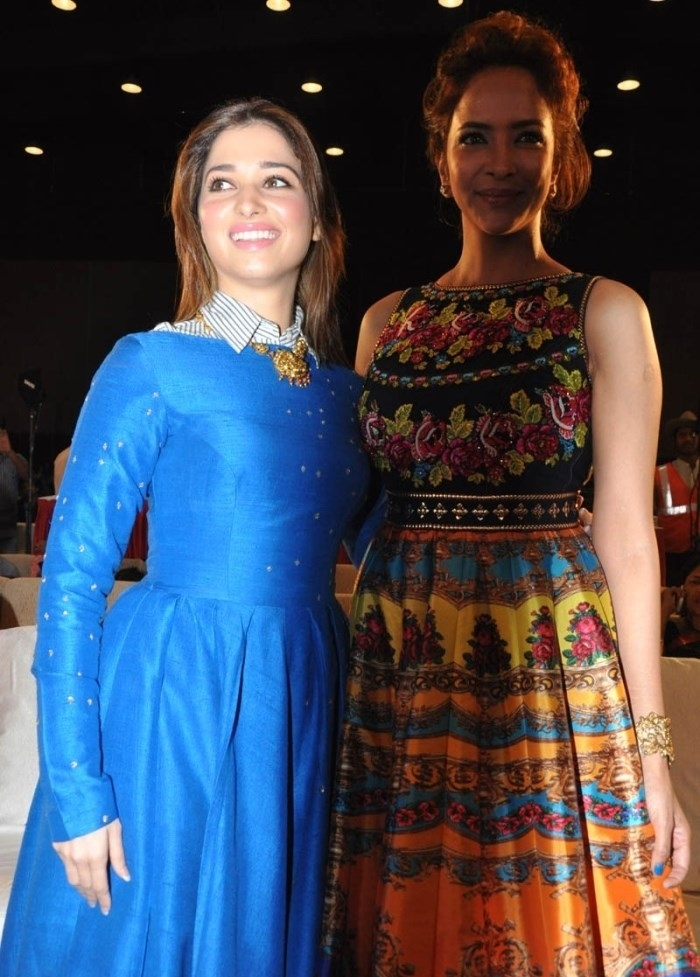 South Indian Girl Tamannaah Beautiful Stills In Blue Dress At Audio Launch