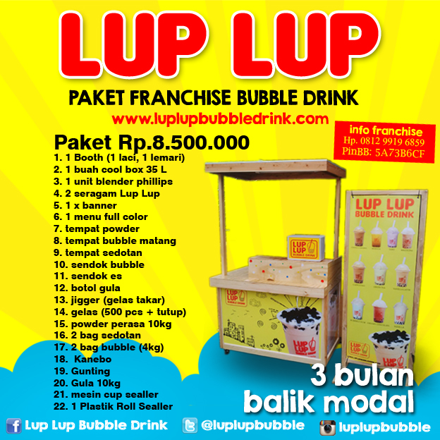Daftar waralaba franchise minuman bubble tea di Indonesia