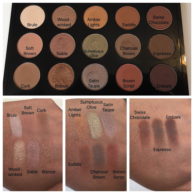 MAC pro palette refill pans and swatches on dark skin