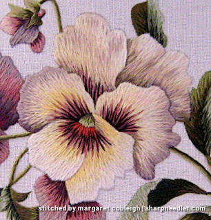 Completed central thread painted pansy from Trish Burr's 'Victorian Pansies'