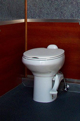 Portable restroom trailer - porcelain toilet