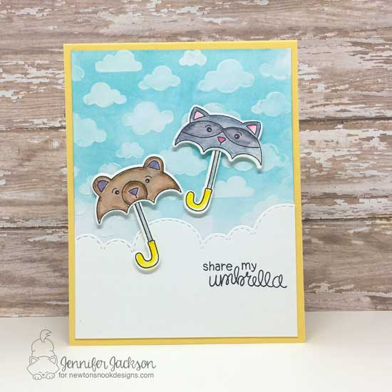 Layton's Legacy Blog Hop | Umbrella Card by Jennifer Jackson | Umbrella Pals Stamp Set and Cloudy Sky Stencil by Newton's Nook Designs #newtonsnook #handmade