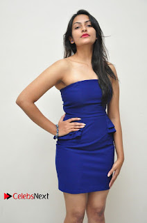 Actress Swetha Verma Pictures in Blue Dress at Wish You Happy Break Up Movie Premier Show  0029