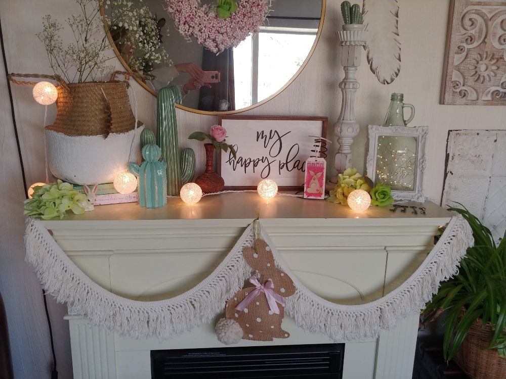 spring decor for the mantel