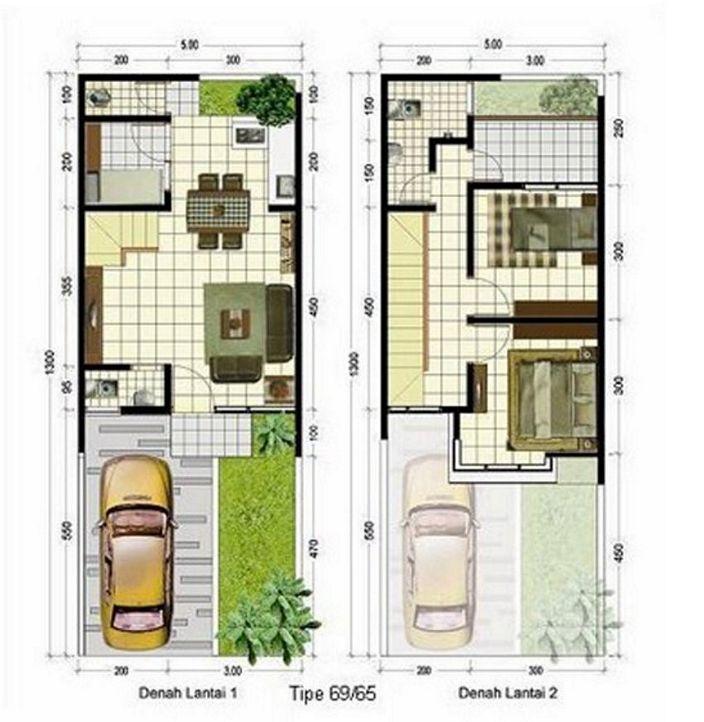 denah rumah sederhana 2 lantai tampak minimalis