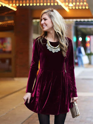 Velvet Dress with statement necklace