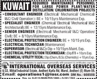 Vacancy for maintenance Personnels in Kuwait