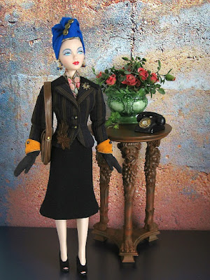 Gene Marshall in an ooak suit ensemble from The Couture Touch, circa 1940's.