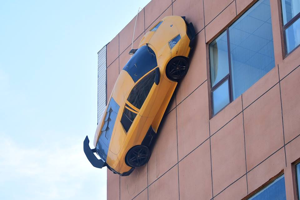Lamborghini Car Races Up A Four Storey Building In China See